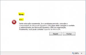 Erro Genérico Microsoft Dynamics CRM 4  2011